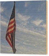 Draped American Flag Pole Dusk  Casa Grande Arizona 2004 Wood Print
