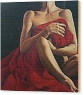 Draped In Red Wood Print by Trisha Lambi