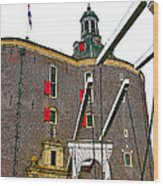 Drawbridge And Tower In Enkhuizen-netherlands Wood Print