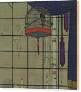 Drawing Of A Bid In A Cage In Front Of A Window Wood Print