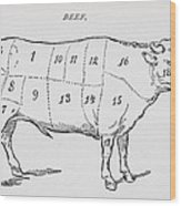 Drawing Of A Bullock Marked To Show Eighteen Different Cuts Of Meat Wood Print by English School