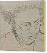 Drawing Of A Woman Wood Print