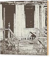 Drawing Of An Old House With Porch In Brown 3000.04 Wood Print