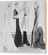 Drawing Of Four Well-dressed Women Wood Print