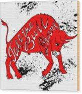Drawing Red Angry Bull On The Grunge Wood Print
