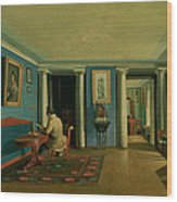 Drawing Room With Columned Entresol  Wood Print