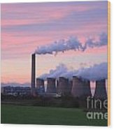 Drax Power Station At Sunset Wood Print