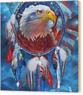 Dream Catcher - Eagle Red White Blue Wood Print by Carol Cavalaris