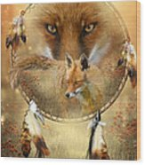 Dream Catcher- Spirit Of The Red Fox Wood Print