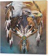 Dream Catcher - Three Eagles Wood Print