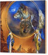 Dream Catcher - Wolf Dreams Wood Print