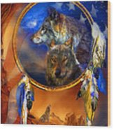 Dream Catcher - Wolf Dreams Patriotic Wood Print