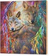 Dream Catcher - Wolf Spirits Wood Print