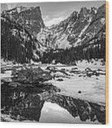 Dream Lake Reflection Black And White Wood Print