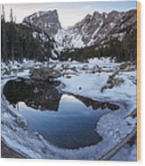Dream Lake Reflection Square Format Wood Print by Aaron Spong