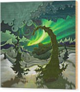 Dream Landscapes Aurora Green Wood Print