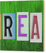 Dream License Plate Letter Vintage Phrase Artwork On Green Wood Print by Design Turnpike