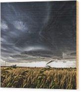 Dreamcatcher - Scenic Storm Over Kansas Plains Wood Print