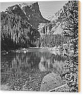 Dreaming At Dream Lake - Black And White Wood Print