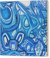 Dreaming In Blue Wood Print