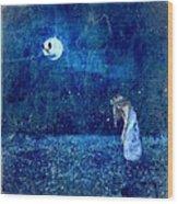 Dreaming In Blue Wood Print by Rhonda Barrett