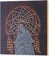 Dreaming Wolf Wood Print