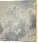 Dreamy Clouds In Shades Of Grey And Slate Blue Wood Print