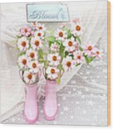 Dreamy Cottage Garden Art - Shabby Chic Pink Flowers Garden Bloom With Pink Rain Boots Wood Print