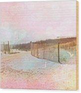 Dreamy Cottage Summer Beach Ocean Coastal Art Wood Print