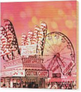 Surreal Hot Pink Orange Carnival Festival Cotton Candy Stand Candy Apples Ferris Wheel Art Wood Print