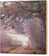 Dreamy Pink Nature Landscape - Surreal Foggy Scenic Drive Nature Tree Landscape  Wood Print