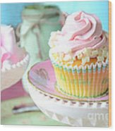 Dreamy Shabby Chic Cupcake Vintage Romantic Food And Floral Photography - Pink Teal Aqua Blue  Wood Print