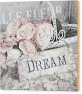 Dreamy Shabby Chic Romantic Cottage Chic Roses In White Basket  Wood Print