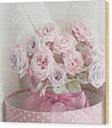 Dreamy Shabby Chic Roses In Pink Polka Dot Hat Box - Romantic Roses Floral Bouquet Wood Print