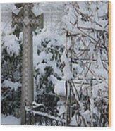 Dreamy Snowy Cross Wood Print