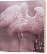 Dreamy Surreal Ethereal Pink Angel Art Wings Wood Print