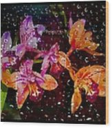 Drenched Flowers Wood Print
