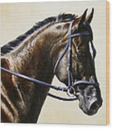 Dressage Horse - Concentration Wood Print by Crista Forest