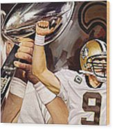Drew Brees New Orleans Saints Quarterback Artwork Wood Print