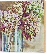 Dried Autumn Hydrangeas - Digital Paint Wood Print