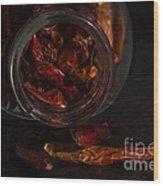 Dried Chilli Wood Print