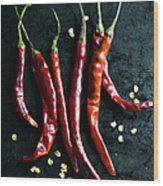Dried Chilli Peppers Wood Print