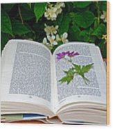 Dried Flower In A Book Wood Print