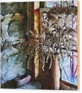 Dried Flowers On Windowsill Wood Print