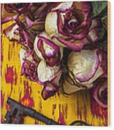 Dried Pink Roses And Key Wood Print