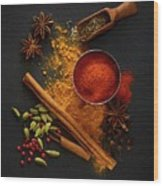 Dried Spices On Black Slate Wood Print