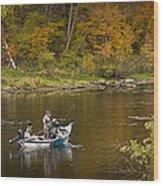 Drift Boat Fishermen On The Muskegon River Wood Print