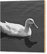 Driftin' Duck - Bw Wood Print