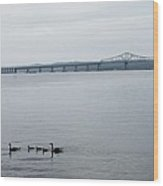 Drifting Past The The Tappan Zee Wood Print