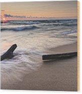 Driftwood On The Beach Wood Print by Adam Romanowicz